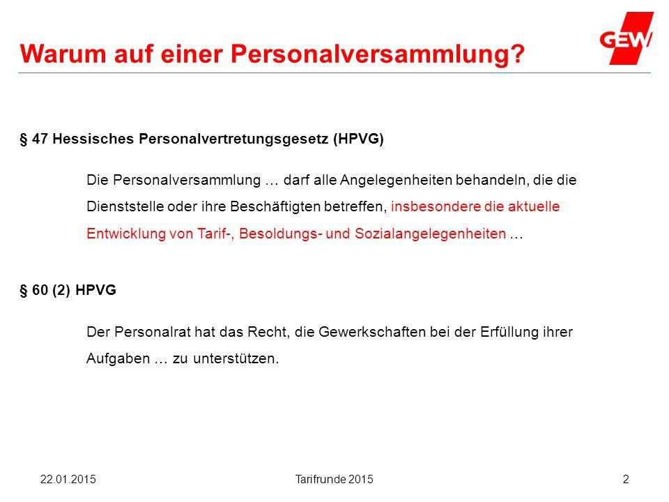 Hanau Warum auf einer Personalversammlung? § 47 Hessisches Personalvertretungsgesetz (HPVG) Die Personalversammlung … darf alle Angelegenheiten behand