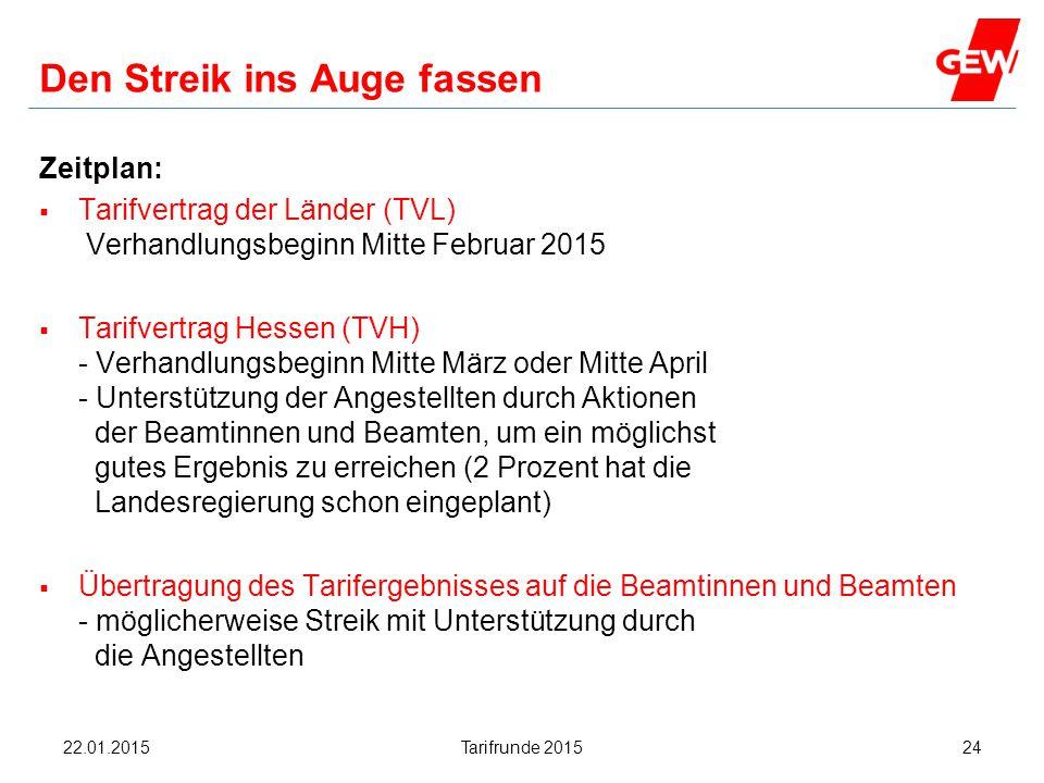 Hanau Den Streik ins Auge fassen Zeitplan:  Tarifvertrag der Länder (TVL) Verhandlungsbeginn Mitte Februar 2015  Tarifvertrag Hessen (TVH) - Verhand
