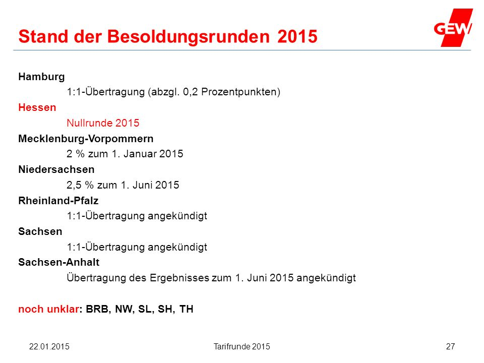 Hanau Stand der Besoldungsrunden 2015 Hamburg 1:1-Übertragung (abzgl. 0,2 Prozentpunkten) Hessen Nullrunde 2015 Mecklenburg-Vorpommern 2 % zum 1. Janu