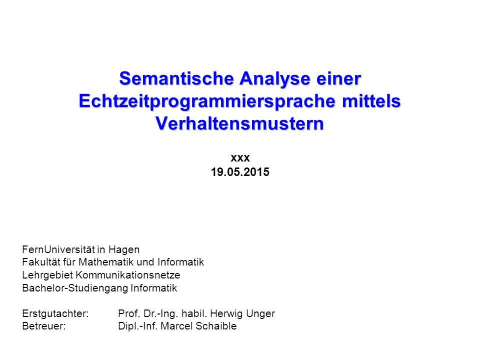 Anhang: Semantische Analyse 01 MODULE (name_1); 02 PROBLEM 03 DCL a FIXED GLOBAL; 04 MODEND; 01 MODULE (name_2); 02 PROBLEM 03 SPC a FIXED GLOBAL (name_1); 04 MODEND; Modul 1 Modul 2 SPECIFY: Bezug innerhalb eines Moduls 01 DCL Bezeichner_1 FIXED; 02 SPC Bezeichner_2 FIXED IDENT (Bezeichner_1); SPECIFY: Bezug zwischen zwei Modulen Initialisierung 01 DCL Bezeichner FIXED INIT(Wert);