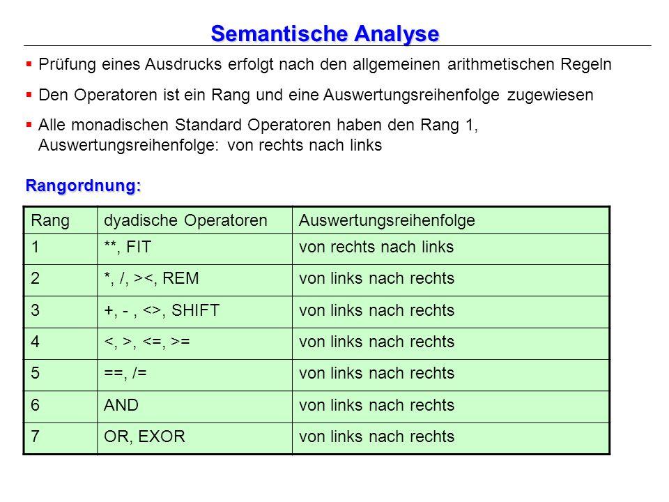 Semantische Analyse  Prüfung eines Ausdrucks erfolgt nach den allgemeinen arithmetischen Regeln  Den Operatoren ist ein Rang und eine Auswertungsreihenfolge zugewiesen  Alle monadischen Standard Operatoren haben den Rang 1, Auswertungsreihenfolge: von rechts nach links Rangordnung: Rangdyadische OperatorenAuswertungsreihenfolge 1**, FITvon rechts nach links 2*, /, ><, REMvon links nach rechts 3+, -, <>, SHIFTvon links nach rechts 4, =von links nach rechts 5==, /=von links nach rechts 6ANDvon links nach rechts 7OR, EXORvon links nach rechts