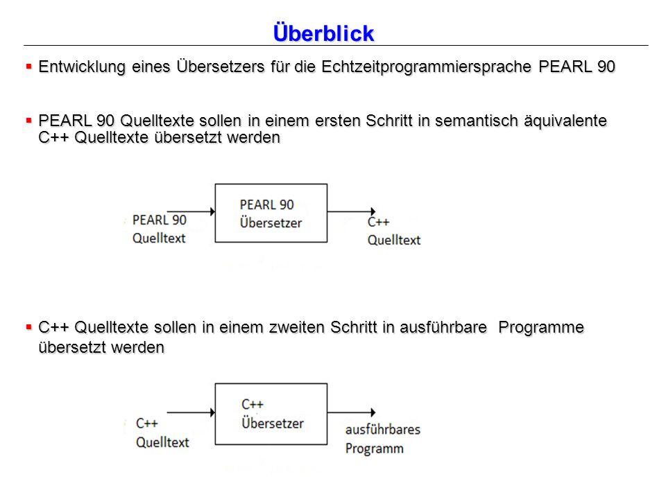 Überblick  Entwicklung eines Übersetzers für die Echtzeitprogrammiersprache PEARL 90  PEARL 90 Quelltexte sollen in einem ersten Schritt in semantisch äquivalente C++ Quelltexte übersetzt werden  C++ Quelltexte sollen in einem zweiten Schritt in ausführbare Programme übersetzt werden