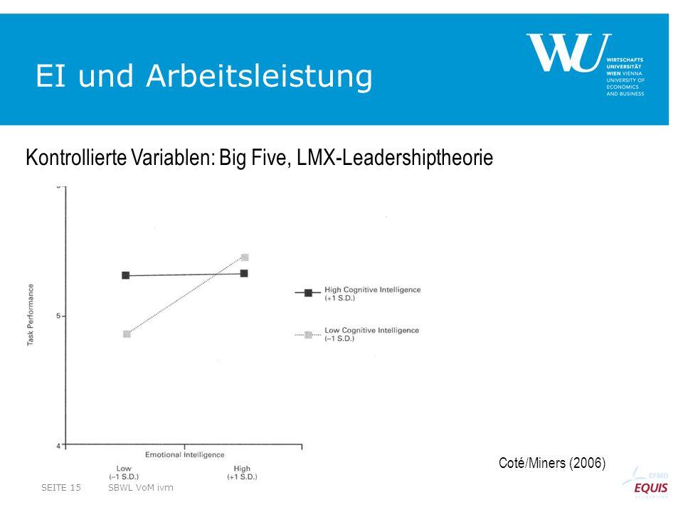 EI und Arbeitsleistung Coté/Miners (2006) Kontrollierte Variablen: Big Five, LMX-Leadershiptheorie SBWL VoM ivmSEITE 15