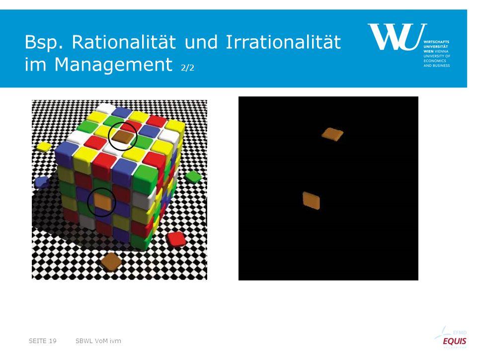 Bsp. Rationalität und Irrationalität im Management 2/2 SBWL VoM ivmSEITE 19