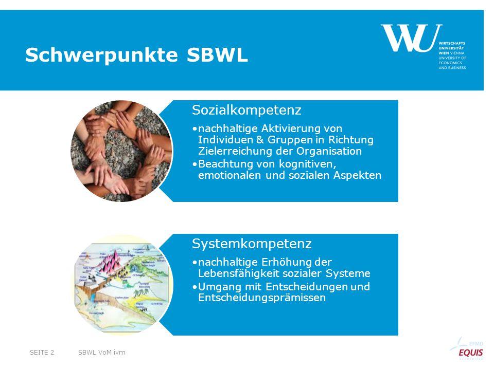 Schwerpunkte SBWL Sozialkompetenz nachhaltige Aktivierung von Individuen & Gruppen in Richtung Zielerreichung der Organisation Beachtung von kognitiven, emotionalen und sozialen Aspekten Systemkompetenz nachhaltige Erhöhung der Lebensfähigkeit sozialer Systeme Umgang mit Entscheidungen und Entscheidungsprämissen SBWL VoM ivmSEITE 2