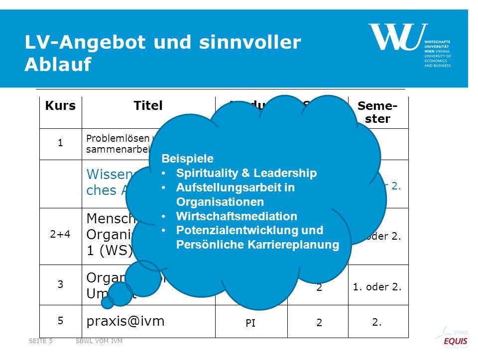 Wissenschaftli- ches Arbeiten 2. 2 PI praxis@ivm 5 1. oder 2. Organisation & Umwelt 3 Mensch & Organisation 1 (WS) + 2 (SS) 2+4 1. Problemlösen und Zu