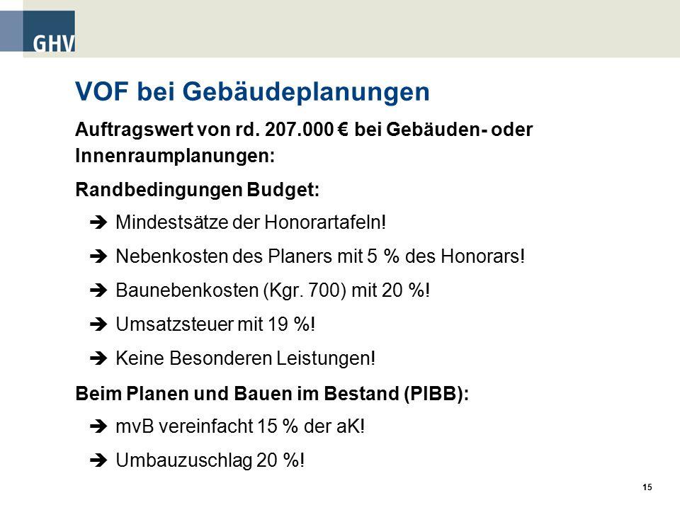 15 VOF bei Gebäudeplanungen Auftragswert von rd.
