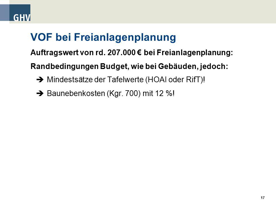 17 VOF bei Freianlagenplanung Auftragswert von rd.