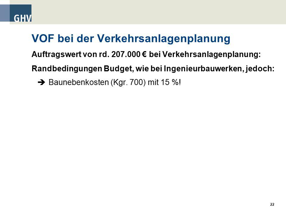 22 VOF bei der Verkehrsanlagenplanung Auftragswert von rd.