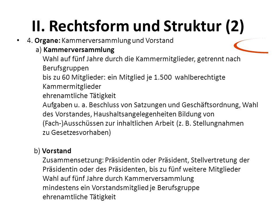 II. Rechtsform und Struktur (2) 4. Organe: Kammerversammlung und Vorstand a) Kammerversammlung Wahl auf fünf Jahre durch die Kammermitglieder, getrenn