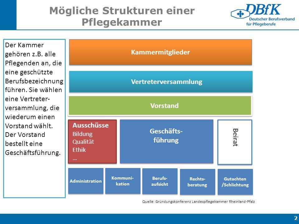 Mögliche Strukturen einer Pflegekammer 2 Kammermitglieder Vertreterversammlung Vorstand Südwest Gutachten /Schlichtung Geschäfts- führung Beirat Der K