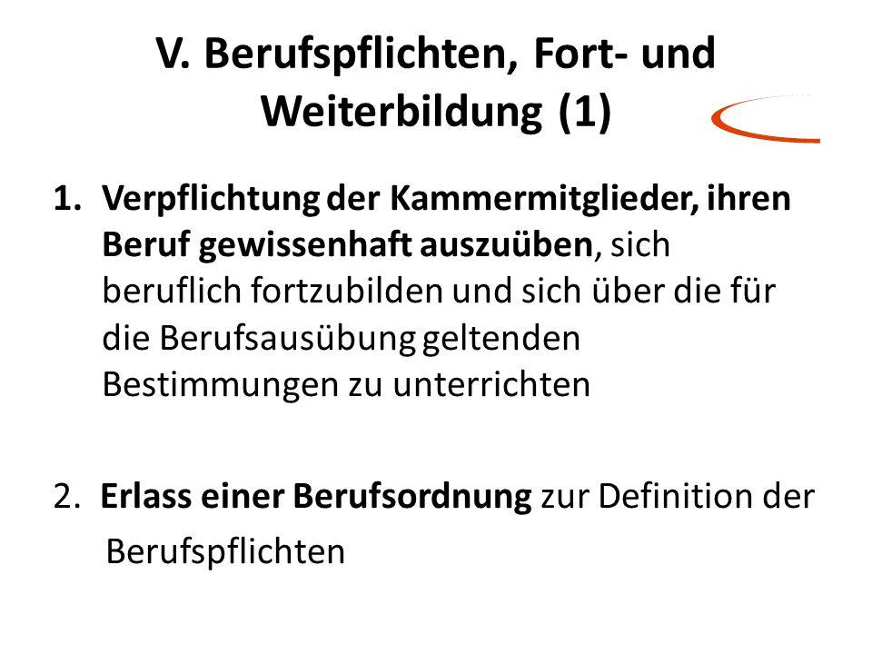 V. Berufspflichten, Fort- und Weiterbildung (1) 1.Verpflichtung der Kammermitglieder, ihren Beruf gewissenhaft auszuüben, sich beruflich fortzubilden