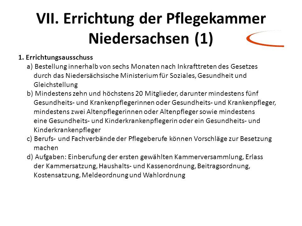 VII. Errichtung der Pflegekammer Niedersachsen (1) 1. Errichtungsausschuss a) Bestellung innerhalb von sechs Monaten nach Inkrafttreten des Gesetzes d