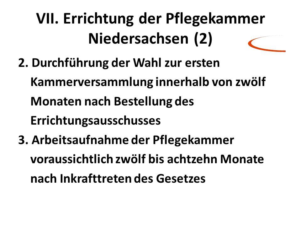 VII. Errichtung der Pflegekammer Niedersachsen (2) 2. Durchführung der Wahl zur ersten Kammerversammlung innerhalb von zwölf Monaten nach Bestellung d