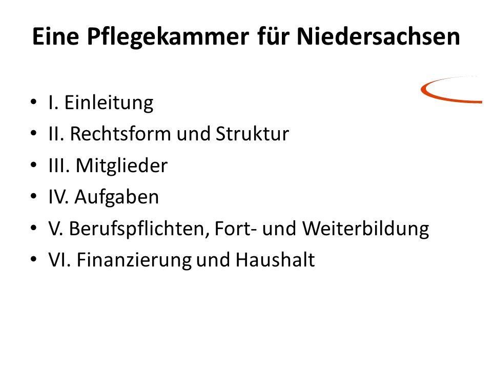 Eine Pflegekammer für Niedersachsen I. Einleitung II. Rechtsform und Struktur III. Mitglieder IV. Aufgaben V. Berufspflichten, Fort- und Weiterbildung