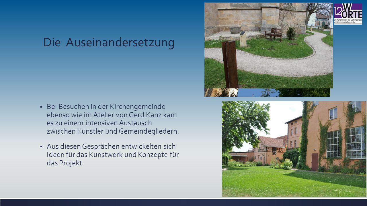 Die Auseinandersetzung  Bei Besuchen in der Kirchengemeinde ebenso wie im Atelier von Gerd Kanz kam es zu einem intensiven Austausch zwischen Künstler und Gemeindegliedern.