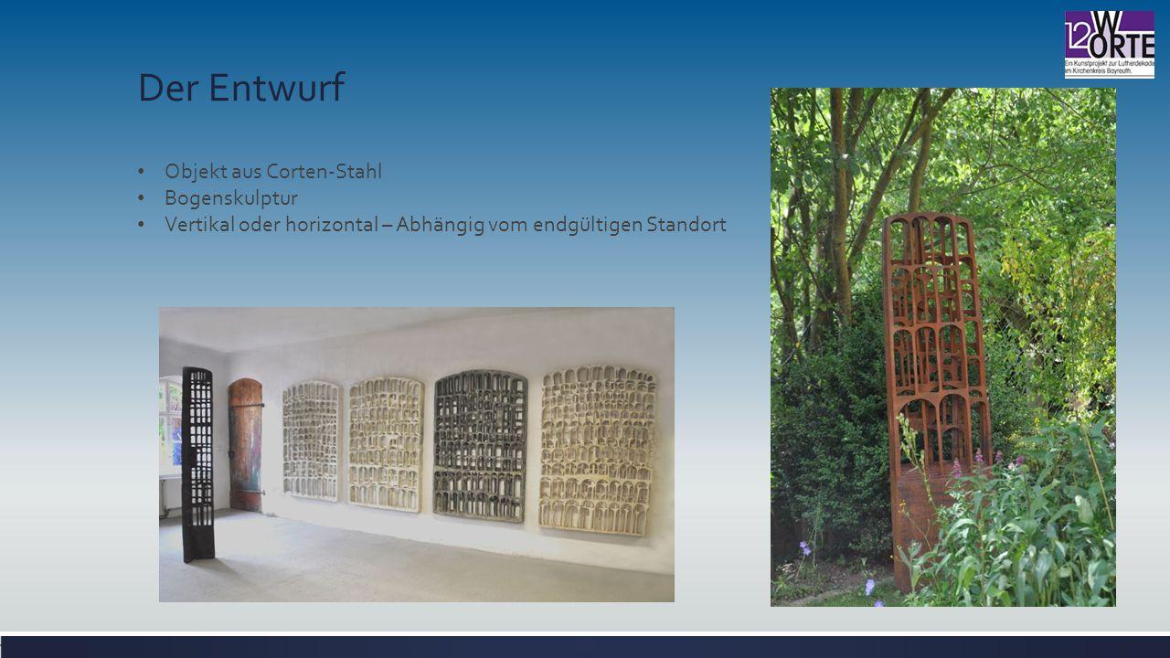 Der Entwurf Objekt aus Corten-Stahl Bogenskulptur Vertikal oder horizontal – Abhängig vom endgültigen Standort