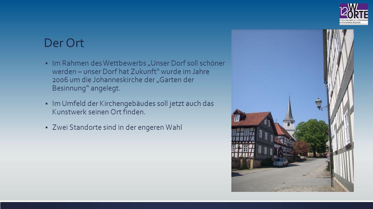 """Der Ort  Im Rahmen des Wettbewerbs """"Unser Dorf soll schöner werden – unser Dorf hat Zukunft wurde im Jahre 2006 um die Johanneskirche der """"Garten der Besinnung angelegt."""