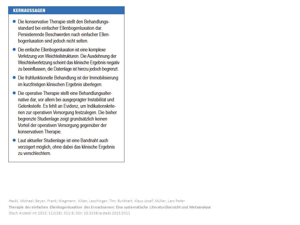 Hackl, Michael; Beyer, Frank; Wegmann, Kilian; Leschinger, Tim; Burkhart, Klaus Josef; Müller, Lars Peter Therapie der einfachen Ellenbogenluxation des Erwachsenen: Eine systematische Literaturübersicht und Metaanalyse Dtsch Arztebl Int 2015; 112(18): 311-9; DOI: 10.3238/arztebl.2015.0311