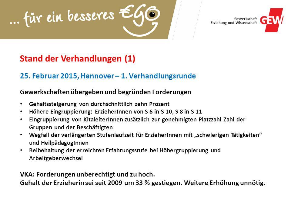 Gewerkschaft Erziehung und Wissenschaft Stand der Verhandlungen (1) 25. Februar 2015, Hannover – 1. Verhandlungsrunde Gewerkschaften übergeben und beg