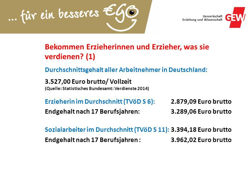 Gewerkschaft Erziehung und Wissenschaft Bekommen Erzieherinnen und Erzieher, was sie verdienen? (1) Durchschnittsgehalt aller Arbeitnehmer in Deutschl