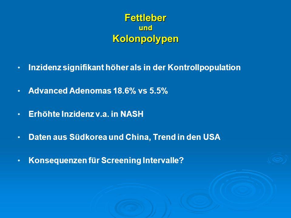 Fettleber und Kolonpolypen Inzidenz signifikant höher als in der Kontrollpopulation Advanced Adenomas 18.6% vs 5.5% Erhöhte Inzidenz v.a. in NASH Date