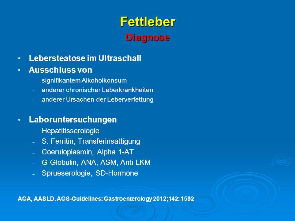 Fettleber Diagnose Lebersteatose im Ultraschall Ausschluss von  signifikantem Alkoholkonsum  anderer chronischer Leberkrankheiten  anderer Ursachen
