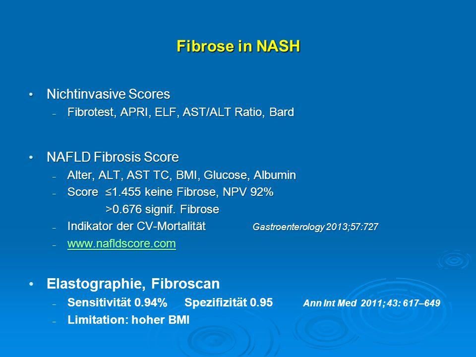 Fibrose in NASH Nichtinvasive Scores Nichtinvasive Scores  Fibrotest, APRI, ELF, AST/ALT Ratio, Bard NAFLD Fibrosis Score NAFLD Fibrosis Score  Alte