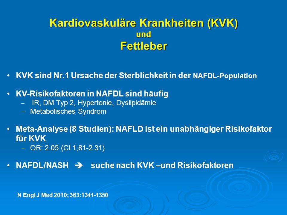 Kardiovaskuläre Krankheiten (KVK ) und Fettleber KVK sind Nr.1 Ursache der Sterblichkeit in der NAFDL-Population KV-Risikofaktoren in NAFDL sind häufi