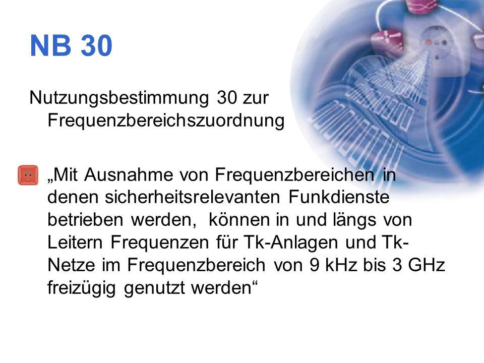 """NB 30 Nutzungsbestimmung 30 zur Frequenzbereichszuordnung """"Mit Ausnahme von Frequenzbereichen in denen sicherheitsrelevanten Funkdienste betrieben wer"""