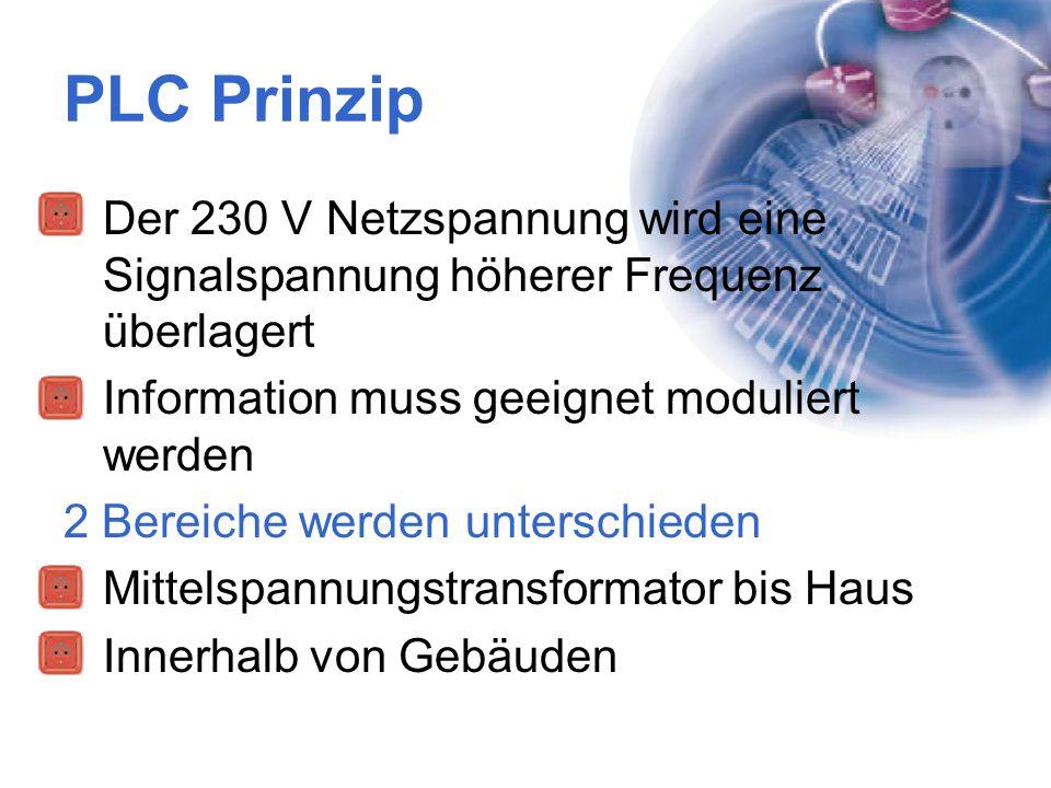 PLC Prinzip Der 230 V Netzspannung wird eine Signalspannung höherer Frequenz überlagert Information muss geeignet moduliert werden 2 Bereiche werden u