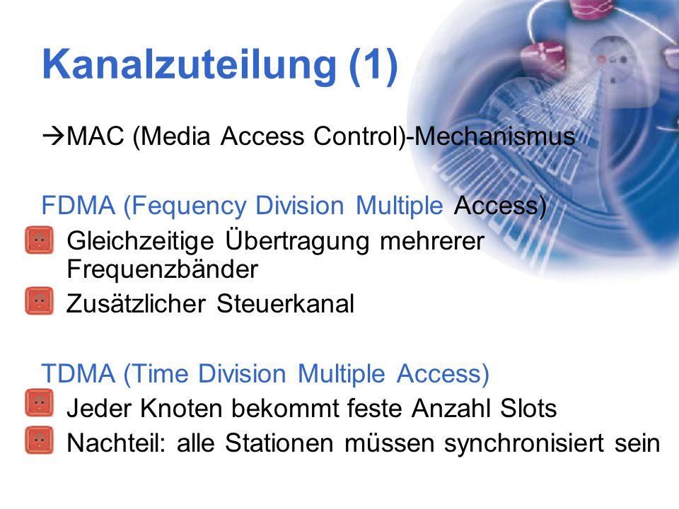 Kanalzuteilung (1)  MAC (Media Access Control)-Mechanismus FDMA (Fequency Division Multiple Access) Gleichzeitige Übertragung mehrerer Frequenzbänder