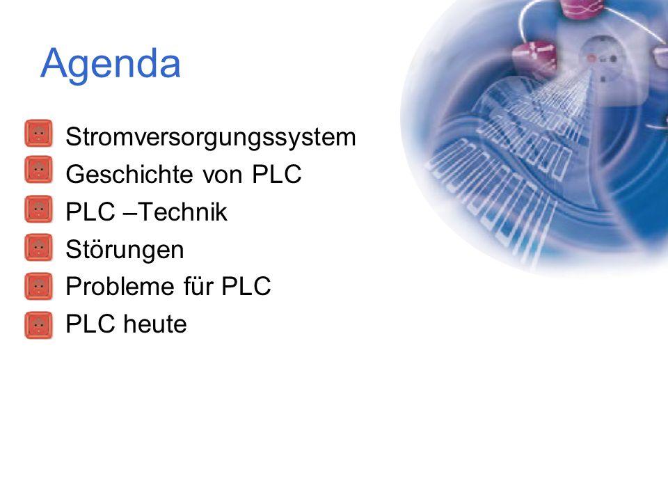 Agenda Stromversorgungssystem Geschichte von PLC PLC –Technik Störungen Probleme für PLC PLC heute