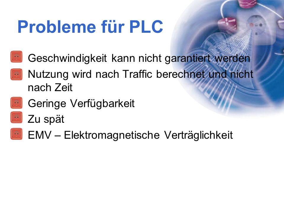 Probleme für PLC Geschwindigkeit kann nicht garantiert werden Nutzung wird nach Traffic berechnet und nicht nach Zeit Geringe Verfügbarkeit Zu spät EM