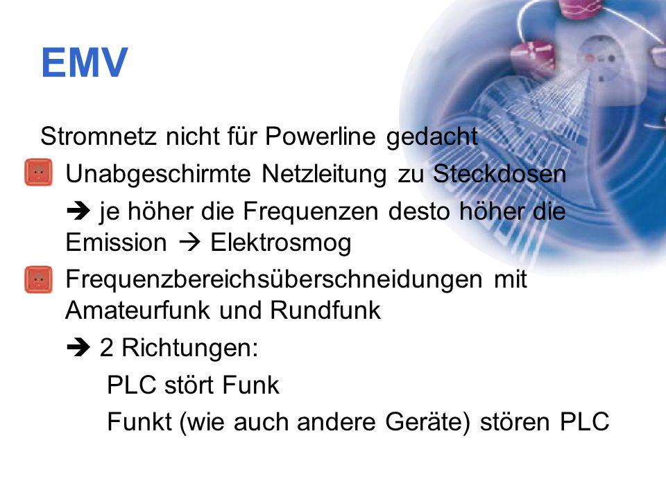 EMV Stromnetz nicht für Powerline gedacht Unabgeschirmte Netzleitung zu Steckdosen  je höher die Frequenzen desto höher die Emission  Elektrosmog Fr