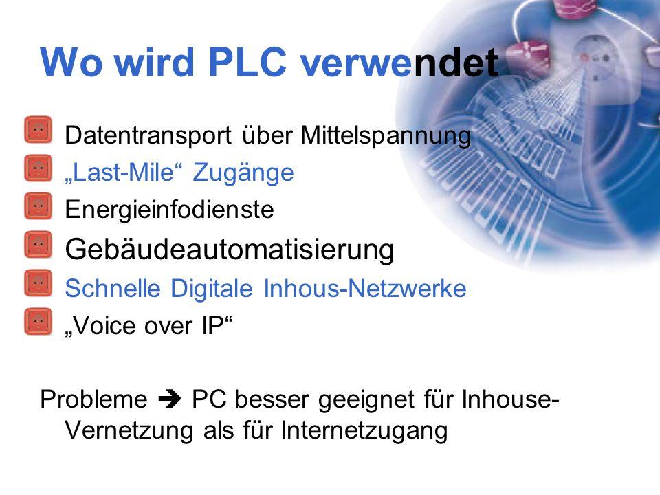 """Wo wird PLC verwendet Datentransport über Mittelspannung """"Last-Mile"""" Zugänge Energieinfodienste Gebäudeautomatisierung Schnelle Digitale Inhous-Netzwe"""