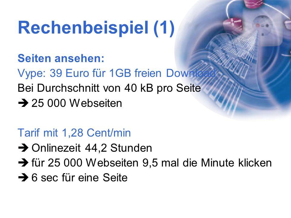 Rechenbeispiel (1) Seiten ansehen: Vype: 39 Euro für 1GB freien Download Bei Durchschnitt von 40 kB pro Seite  25 000 Webseiten Tarif mit 1,28 Cent/m