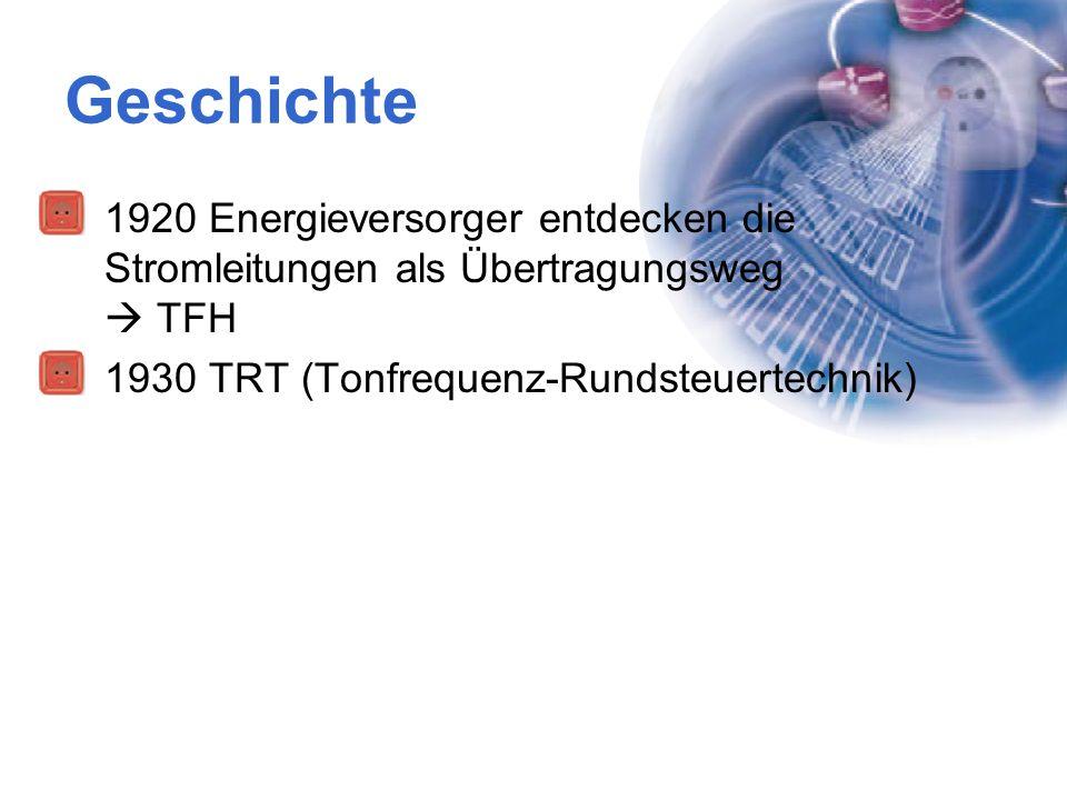 Geschichte 1920 Energieversorger entdecken die Stromleitungen als Übertragungsweg  TFH 1930 TRT (Tonfrequenz-Rundsteuertechnik)