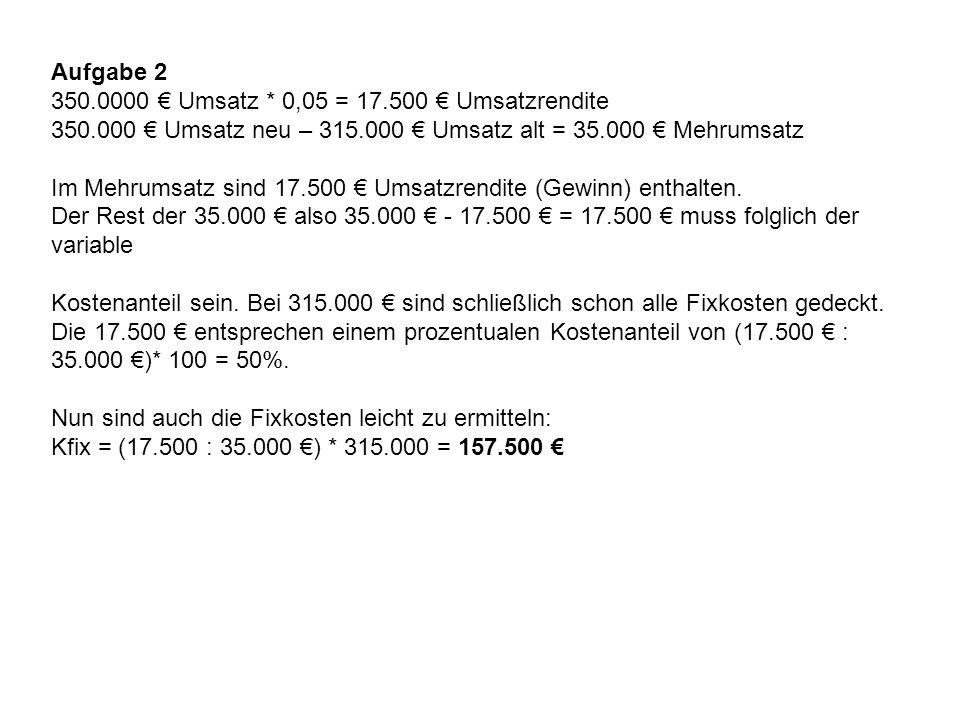 Aufgabe 2 350.0000 € Umsatz * 0,05 = 17.500 € Umsatzrendite 350.000 € Umsatz neu – 315.000 € Umsatz alt = 35.000 € Mehrumsatz Im Mehrumsatz sind 17.50