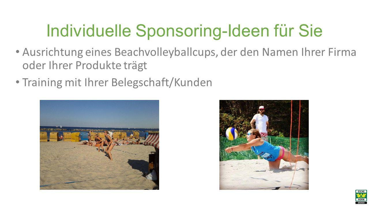 Individuelle Sponsoring-Ideen für Sie Ausrichtung eines Beachvolleyballcups, der den Namen Ihrer Firma oder Ihrer Produkte trägt Training mit Ihrer Belegschaft/Kunden