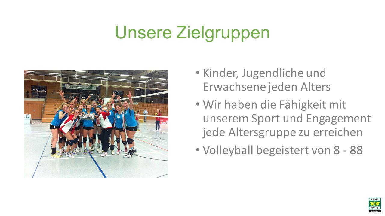 Unsere Zielgruppen Kinder, Jugendliche und Erwachsene jeden Alters Wir haben die Fähigkeit mit unserem Sport und Engagement jede Altersgruppe zu erreichen Volleyball begeistert von 8 - 88