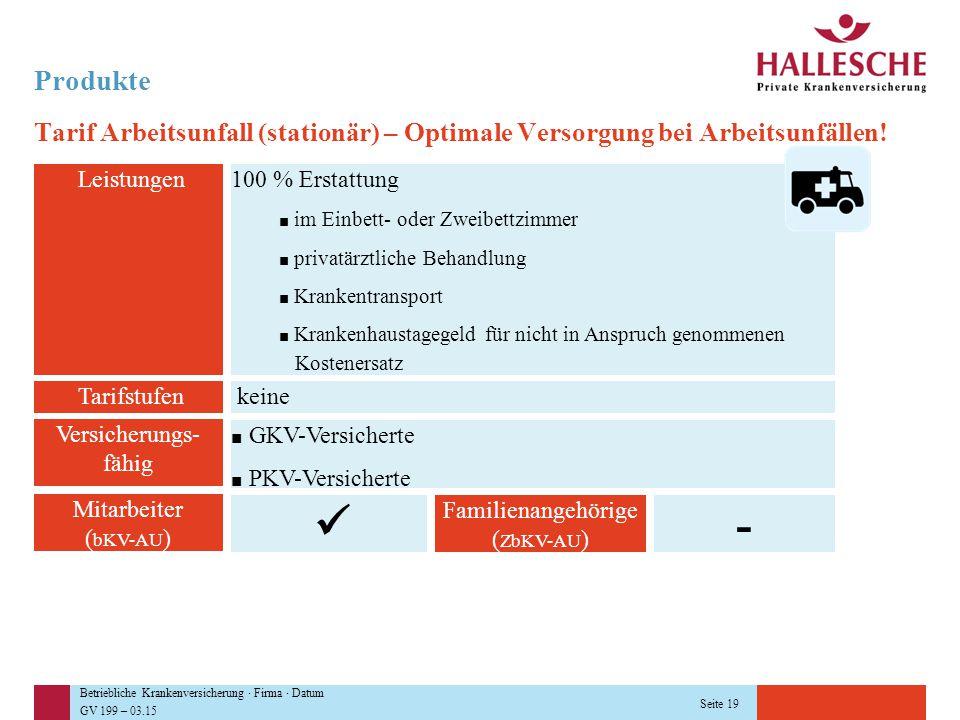 Betriebliche Krankenversicherung · Firma · Datum GV 199 – 03.15 Seite 19 Produkte Tarif Arbeitsunfall (stationär) – Optimale Versorgung bei Arbeitsunf