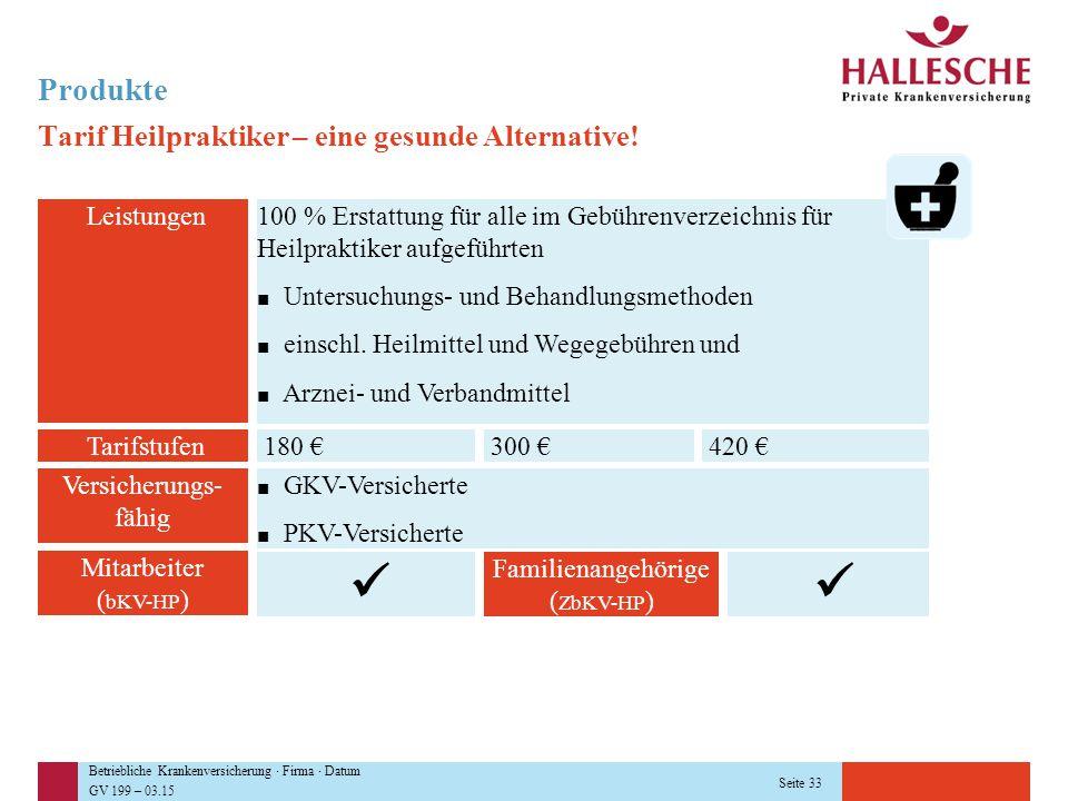 Betriebliche Krankenversicherung · Firma · Datum GV 199 – 03.15 Seite 33 Produkte Tarif Heilpraktiker – eine gesunde Alternative! Leistungen100 % Erst