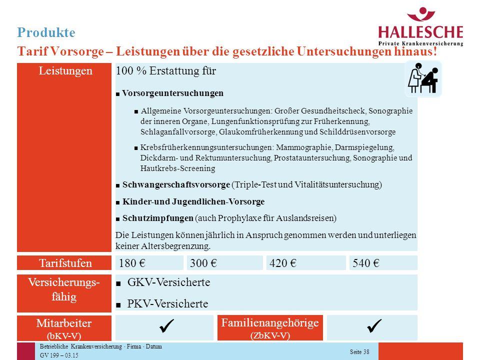 Betriebliche Krankenversicherung · Firma · Datum GV 199 – 03.15 Seite 38 Produkte Tarif Vorsorge – Leistungen über die gesetzliche Untersuchungen hina