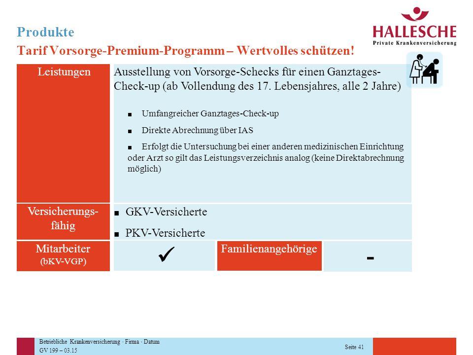 Betriebliche Krankenversicherung · Firma · Datum GV 199 – 03.15 Seite 41 Produkte Tarif Vorsorge-Premium-Programm – Wertvolles schützen! Leistungen Mi
