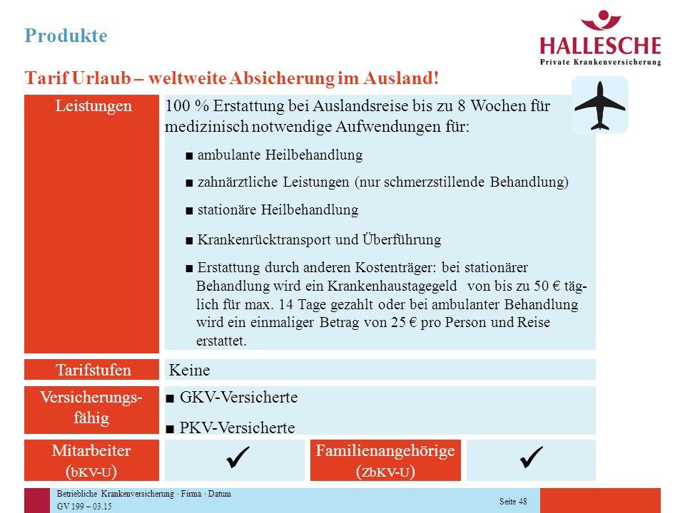 Betriebliche Krankenversicherung · Firma · Datum GV 199 – 03.15 Seite 48 Produkte Tarif Urlaub – weltweite Absicherung im Ausland! Leistungen100 % Ers