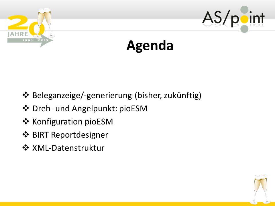 Agenda  Beleganzeige/-generierung (bisher, zukünftig)  Dreh- und Angelpunkt: pioESM  Konfiguration pioESM  BIRT Reportdesigner  XML-Datenstruktur