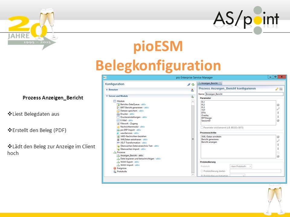 pioESM Belegkonfiguration Prozess Anzeigen_Bericht  Liest Belegdaten aus  Erstellt den Beleg (PDF)  Lädt den Beleg zur Anzeige im Client hoch