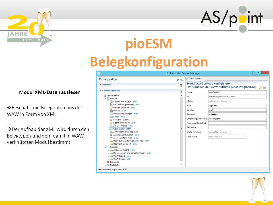 pioESM Belegkonfiguration Modul XML-Daten auslesen  Beschafft die Belegdaten aus der WAW in Form von XML  Der Aufbau der XML wird durch den Belegtypen und dem damit in WAW verknüpften Modul bestimmt