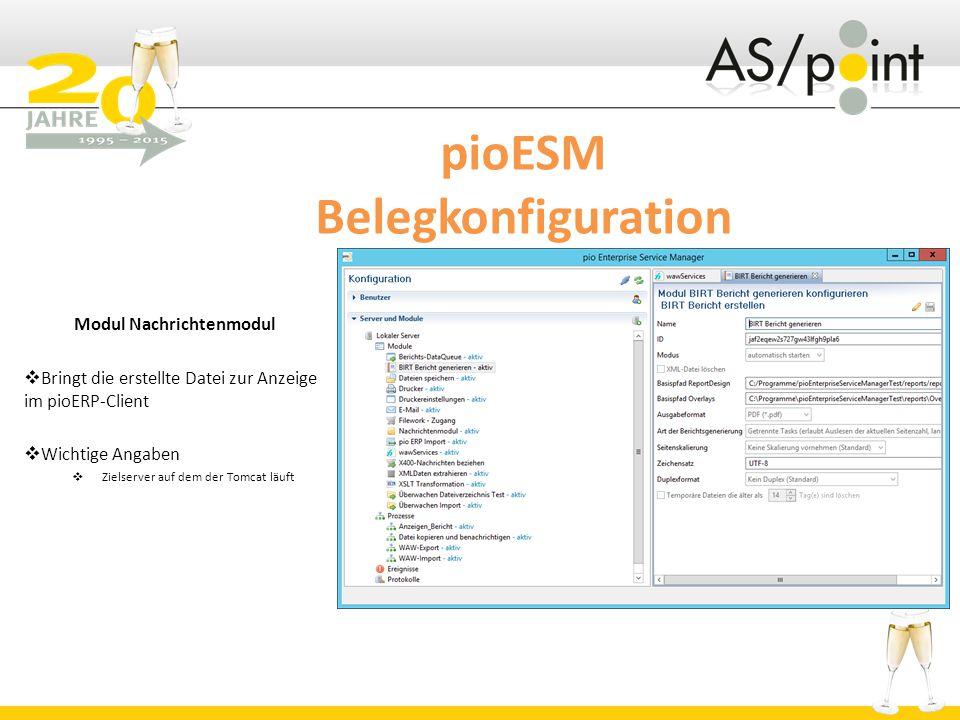 pioESM Belegkonfiguration Modul Nachrichtenmodul  Bringt die erstellte Datei zur Anzeige im pioERP-Client  Wichtige Angaben  Zielserver auf dem der Tomcat läuft